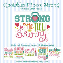 Quotables Fitness Strong New Skinny Sports Cross Stitch Pattern
