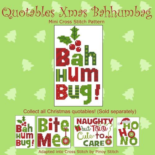 Quotables Christmas Bahhumbag Cross Stitch Pattern