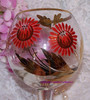 Handpainted Red & Gold Wine Glass from Romania w/Original Paper Tags Vintage 1970s Designer Gift
