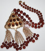 GINORMOUS Hobe Amber Lucite Beaded Pendant Necklace Vintage Totally 80s 1980s Designer Fashion Jewelry Gift