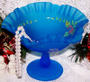 Westmoreland Blue Mist Satin Glass Compote Comport W/Rose Vintage Mid Century 1950s American Designer Gift