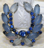 Sapphire Blue Rhinestone & Frosted Glass Brooch on Silver Vintage 1970s Fashion Jewelry Gift