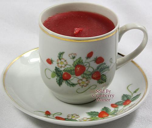 Avon Strawberry Tea Cup & Saucer Candle Holder Candlette Votive w/ 22K Gold Trim Vintage 1978 Designer Gift