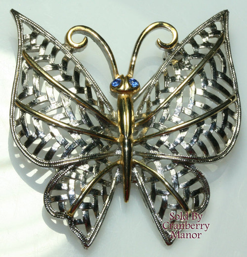 Avon Silver & Gold Sapphire Blue Rhinestone Filigree Butterfly Brooch Vintage 1980s Designer Fashion Jewelry Gift