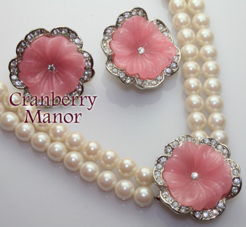 Kenneth J Lane KJL for Avon Perfect Pansy Necklace & Earrings Pink Rhinestone Pearl Lucite Demi Parure Vintage Designer Jewelry Gift