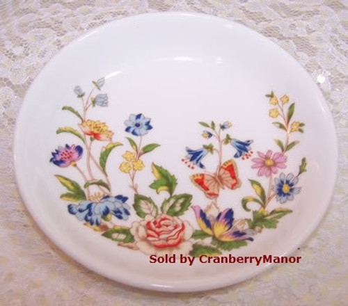 Aynsley Cottage Garden Butterfly Coaster / Trinket Dish from England Vintage 1990s English Designer Fine Bone China Gift