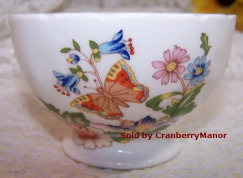 Aynsley Cottage Garden Butterfly Open Sugar Bowl from England Vintage 1990s English Designer Fine Bone China Gift
