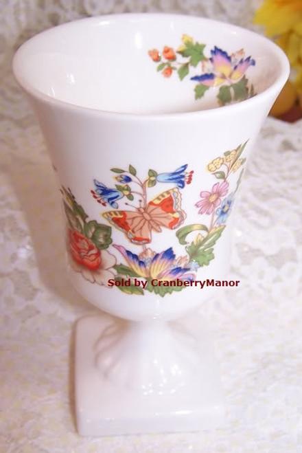 Aynsley Cottage Garden Butterfly Pedestal Vase from England Vintage 1990s English Designer Fine Bone China Gift