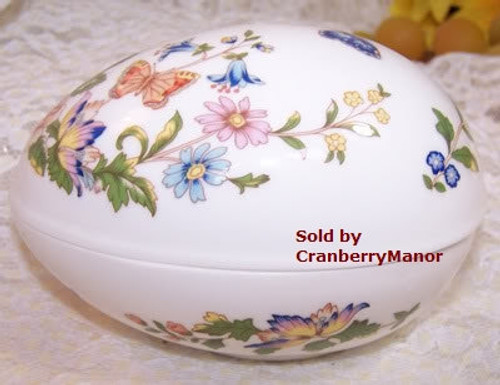 Aynsley Cottage Garden Butterfly Egg Box from England Vintage 1990s English Designer Fine Bone China Gift