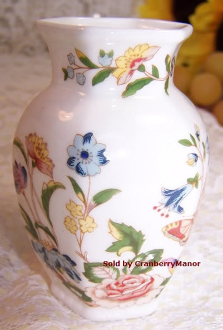 Aynsley Cottage Garden Hexagon Butterfly Urn Vase from England Vintage 1990s English Designer Fine Bone China Gift
