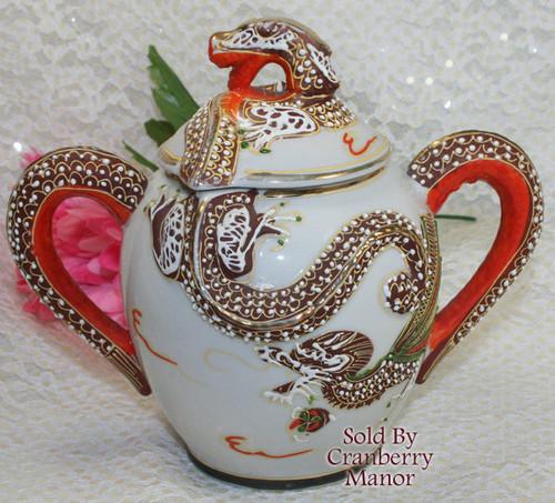 Dragonware Moriage Sugar & Lid from Japan Handpainted Gold Overlay Dragon Vintage Mid Century 1950s Japanese Designer Gift