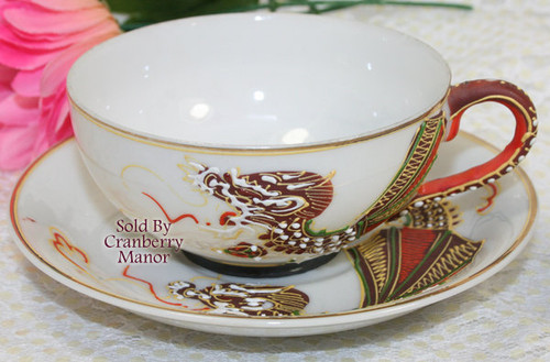 Dragonware Moriage Tea Cup & Saucer from Japan Handpainted Gold Overlay Dragon Vintage Mid Century 1950s Japanese Designer Gift AS IS