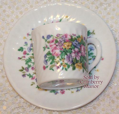 Demitasse Tea Cup & Saucer by VA Vista Alegre for Mottahedeh Portugal Vintage Mid Century 1960s Portuguese Designer Porcelain Gift