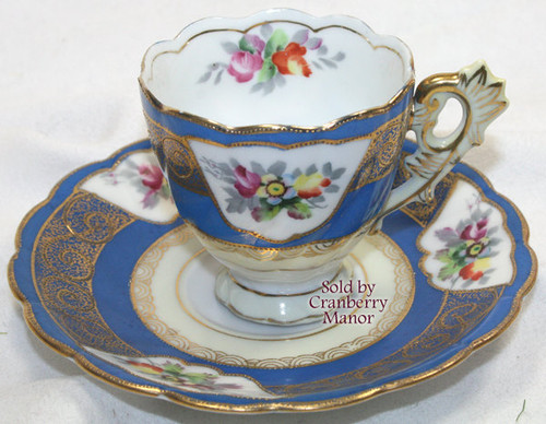 Occupied Japan Blue Rose & Moriage Demitasse / Tea Cup & Saucer from Chubu China Vintage Mid Century 1940s Designer Japanese Post War Years Gift