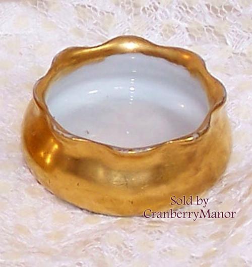Antique Victorian Golden Open Salt by Oscar & Edgar Gutherz Royal Austria Vintage 1900s Austrian Designer Gift