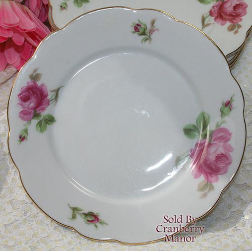 Pink Rose Cake Plate by Oscar Schaller Zeh Scherzer Bavaria Germany Vintage 1930s German Designer Gift