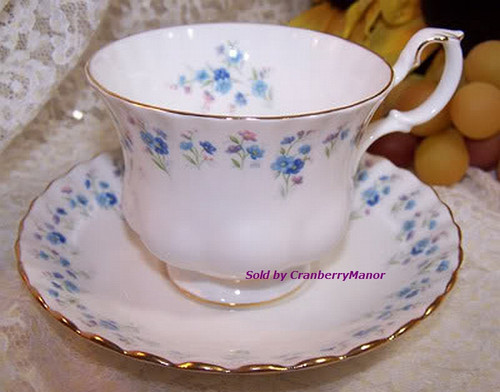 Royal Albert Memory Lane Tea Cup & Saucer from England Vintage 1980s English Designer Fine Bone China Gift