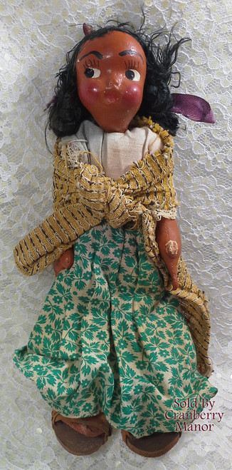Oil Cloth & Wood Toy Doll Mexican Cultural Souvenir Vintage Mid Century 1950s Mexico Folk Art Gift