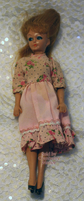 Soft Plastic Toy Doll from Japan with Red Hair & Peach Flower Dress Vintage 1950s Mid Century Japanese Designer Import Gift