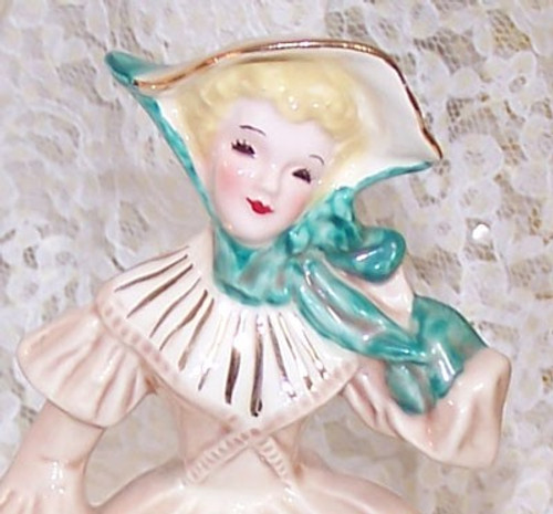 """Victorian Lady """"Louise"""" in GREEN Figurine by Florence Ceramics California Pottery Vintage Mid Century 1950s Pasadena American Designer Gift"""