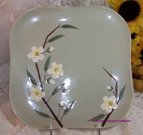 Celadon Green Blossom Square Plate by Weil Ware California Pottery Vintage Mid Century 1950s American Designer Earthenware Gift