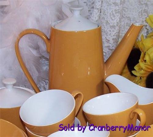 Goldenrod Mustard Yellow Coffee Tea Pot by Johnson Bros England Vintage 1950s Mid Century English Designer Gift