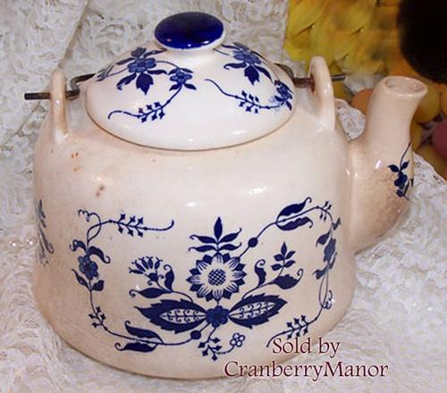 Blue & White Pottery Tea Pot by A Price Import Japan Vintage Mid Century 1950s Japanese Designer Stoneware Gift