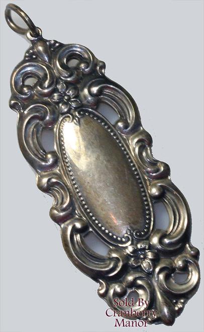 "Towle Sterling Silver Grand Duchess Art Nouveau Revival Pendant Necklace 2.5"" Vintage 1970s Designer Fashion Jewelry Gift"