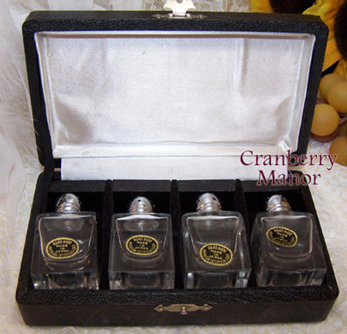American Cut Crystal Glass Salt Shakers in Original Box from Japan Handmade Import Vintage 1950s Mid Century Japanese Designer Gift