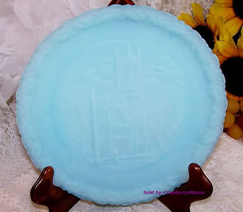 Fenton Satin Art Glass Christmas In America Plate The Church of the Holy Trinity Dish Vintage 1970s American Designer Gift
