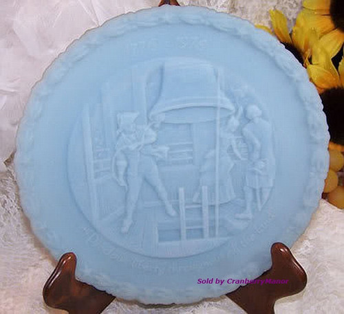 Fenton Art Glass Blue Satin Bicentennial Commemorative Plate #4 Liberty Bell Patriotic 4th of July Dish Vintage 1970s Designer Gift