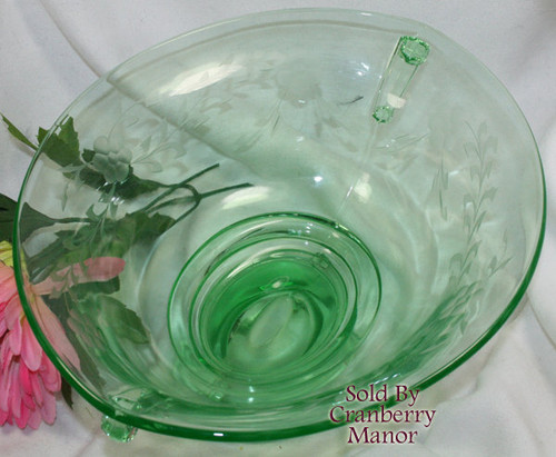 Green Vaseline Double Scroll Depression Glass Console Bowl by Imperial Vintage 1930s American Designer Gift