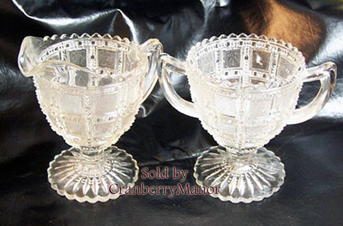 Crystal Depression Glass Cream & Sugar Set in Beaded Block by Indiana Vintage 1930s American Designer Gift
