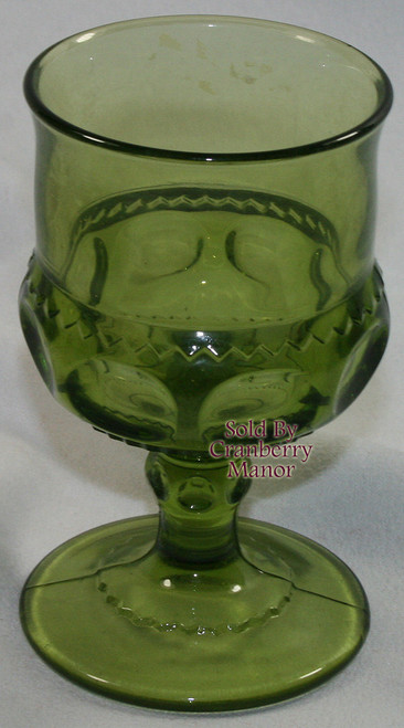 Indiana Tiffin King's Crown Thumbprint Olive Avocado Green Claret Wine Glass Vintage 1970s American Designer Gift