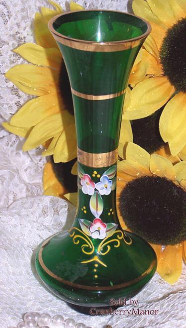 Emerald Green Bohemian Czech Italian Enameled Art Glass Bud Vase Vintage Mid Century 1960s Designer Gift