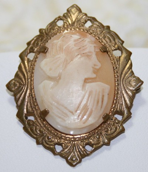 Art Nouveau Carved Shell Goddess Cameo Brooch Vintage 1930s Depression Era / War Years Fashion Jewelry Gift