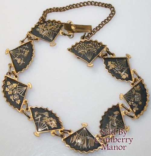 Japanese Komai Damascene Black & Gold Fan Bracelet Vintage Mid Century 1940s Japan Designer World War II Era Fashion Jewelry Gift