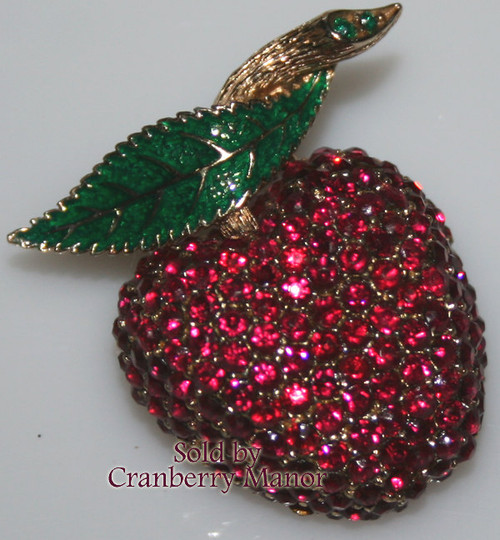 Ciner Ruby Red Rhinestone Enameled Strawberry Brooch Vintage 1980s Fashion Designer Jewelry Gift