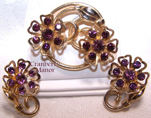 Amethyst Purple Rhinestone Brooch & Earrings by Coro Vintage Mid Century 1950s Designer Fashion Jewelry Gift
