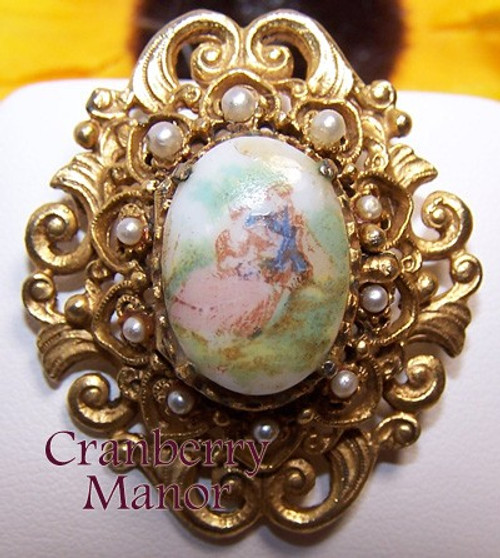 Florenza Pearl Victorian Transferware Cameo Brooch Gold Vintage 1970s Designer Fashion Jewelry Gift