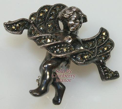 Judith Jack Sterling Silver Marcasite Angel Brooch -Vintage 1970s Designer Fashion Jewelry Gift
