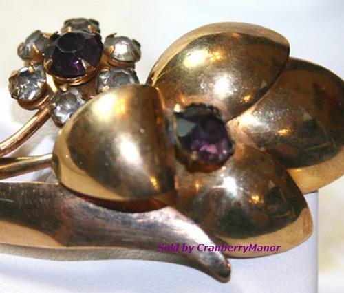 Amethyst Rhinestone 10K Gold Filled -Flower Brooch by RM Jordan Vintage Mid Century 1940s Designer Fashion Jewelry Gift