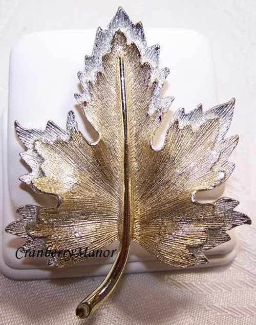 Sarah Coventry Nature's Choice Maple Leaf Brooch Vintage Mid Century 1960s Fashion Designer Jewelry Gift