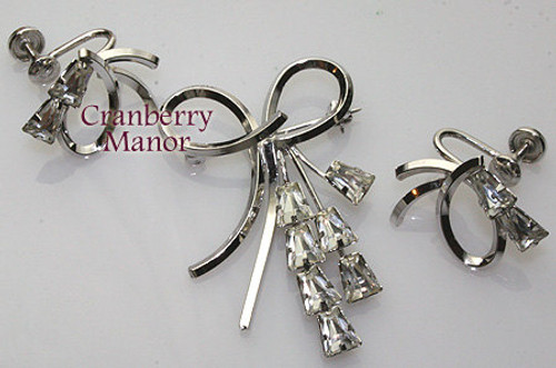 Sterling Silver & Crystal Rhinestone Brooch & Earrings by Star Art Vintage Mid Century 1950s Designer Fashion Jewelry Gift