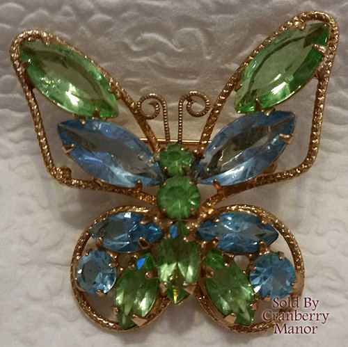 Blue & Green Butterfly Rhinestone Brooch Vintage 1970s Fashion Jewelry Gift