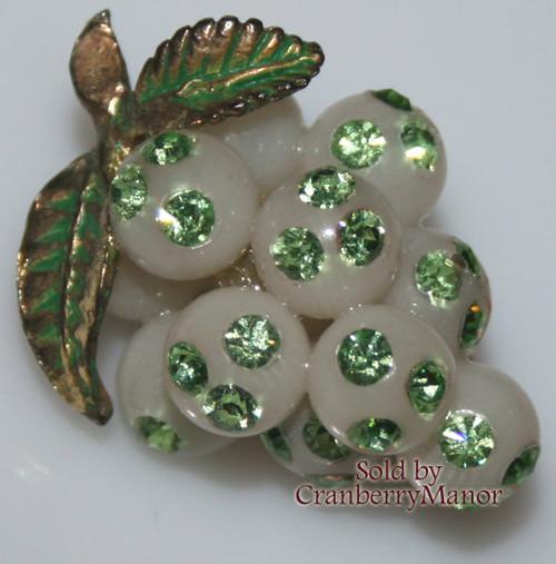 Green Rhinestone & Lucite Grape Forbidden Fruit Brooch from Austria Vintage Mid Century 1950s Austrian Designer Fashion Jewelry Gift