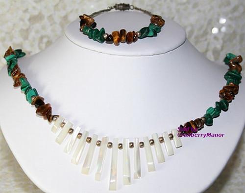 Mother Pearl Tigers Eye Malachite Fetish Necklace & Bracelet Demi Parure Vintage 1970s Fashion Jewelry Gift