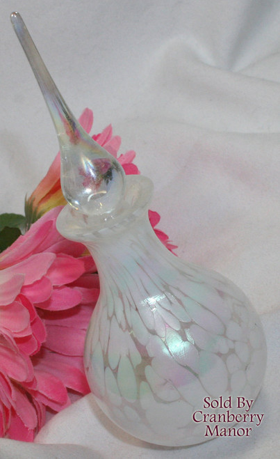 Opalescent Pearlescent Drawn Glass Perfume Bottle & Stopper Vintage 1980s Gift