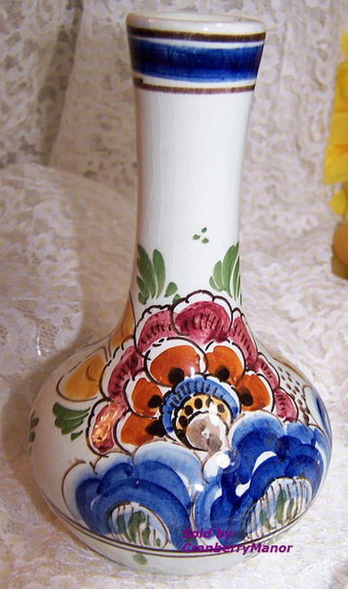 Delft Polychrome Flower Bud Vase from Holland Vintage 1970s Dutch Designer Pottery Gift