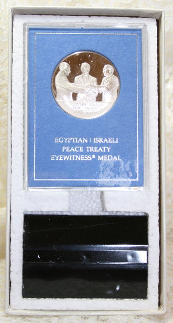 Franklin Mint Sterling Silver Coin Eyewitness Medal Egyptian Israeli Peace Treaty Original Case 1970s Vintage Collectible Numismatic Gift
